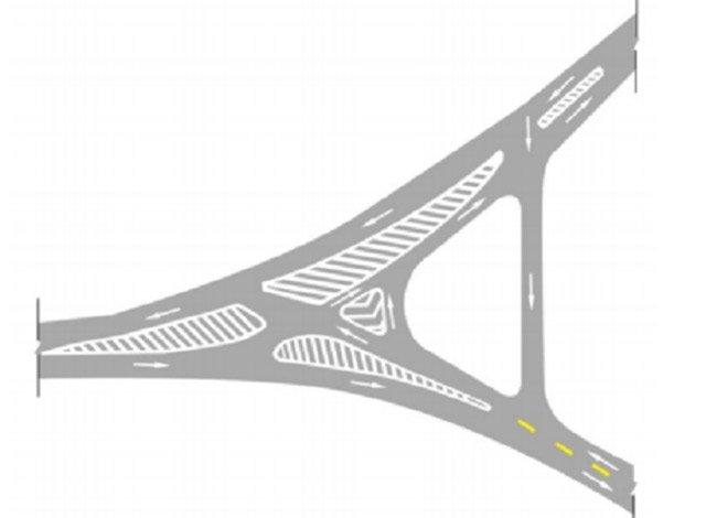Bố trí vạch kênh hóa dòng xe ở ngã ba phức tạp - Mẫu 1