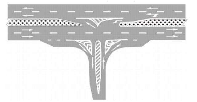 Bố trí vạch kênh hóa dòng xe ở ngã ba phức tạp - Mẫu 4